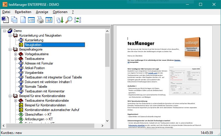 Textbausteinverwaltung texManager Screen shot